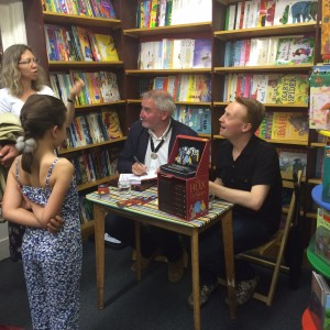 Kate Agnew, Chris Riddell, and me with one of Muswell Hill's young readers