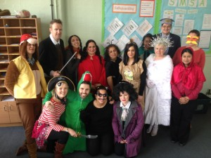 The staff at North Harringay Primary School ready for World Book Day in their normal teaching clothes.